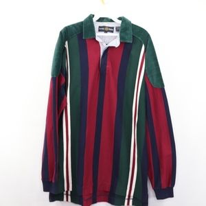 90s Mens Large Color Block Corduroy Rugby Shirt